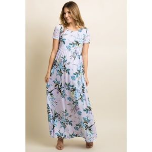 NWT Pinkblush Lavender Floral Maxi Dress